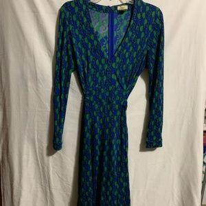 Issa London Wrap Dress Size 10 Blue Green Pattern